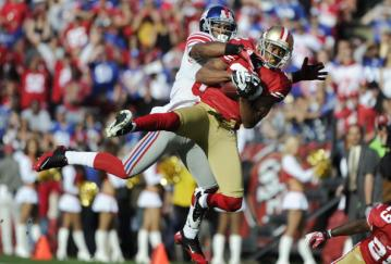 Carlos Rogers war bei seiner Interception fr�her am Ball als Victor Cruz von den Giants.
