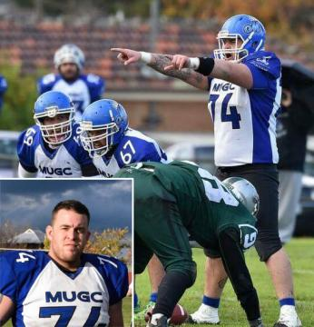 Josh Canning im Dress des Melbourne University Gridiron Club