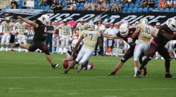 #4 Kicker Tobias Goebel (New Yorker Lions) in Aktion.