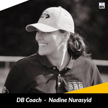 Nadine Nurasyid im Coaching Staff der Munich Cowboys