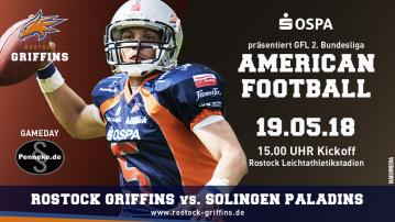 Gameday Flyer Rostock Griffins vs. Solingen Paladins