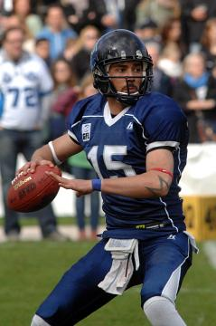 # 15 QB Vasim Ohlerich am 27. April 2013 im Dress der Hamburg Blue Devils.