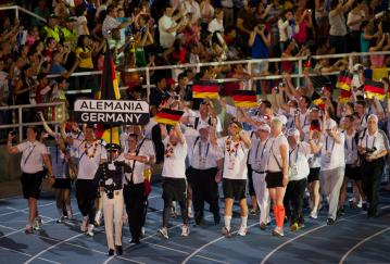 Team Germany beim Einmarsch zu den World Games 2013 in Kolumbien