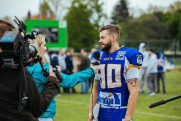 #80 WR Patrick Ehmann (Graz Giants) beim Interview.