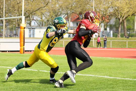 Touchdown Crusaders - 08.04.2017: Rüsselsheim Crusaders vs. Nauheim Wildboys, Stadion am Sommerdamm